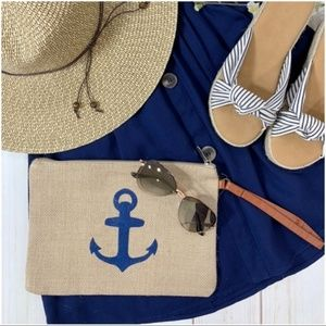LAST ONE! Anchor Burlap Clutch Bag with Wristlet